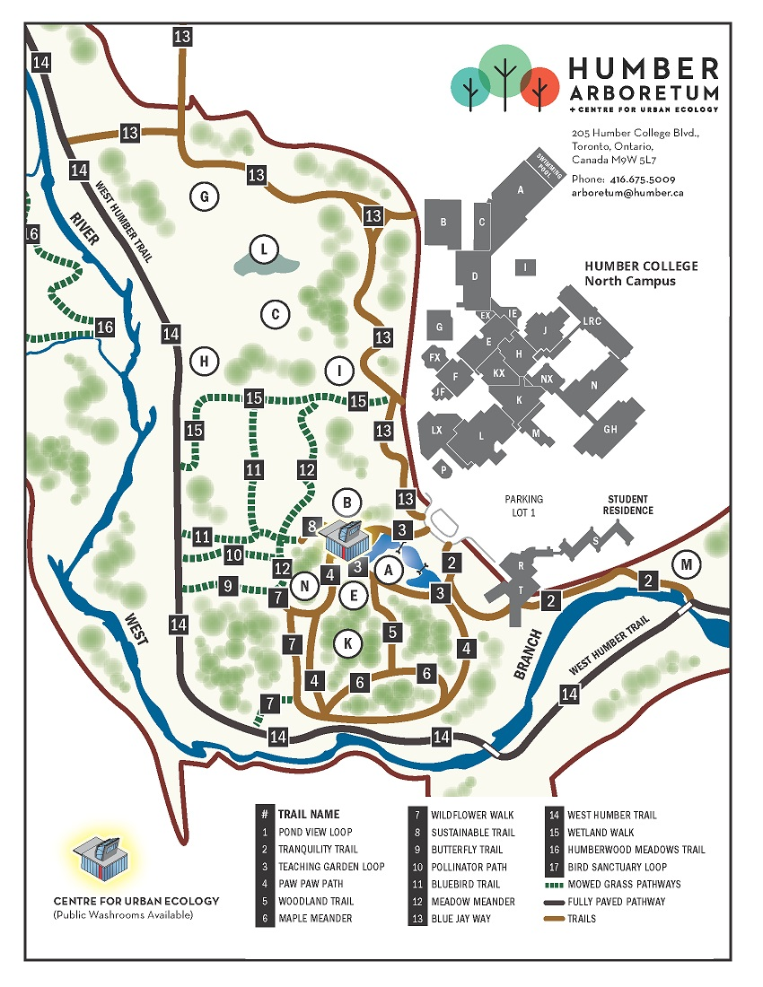 A map showing campus buildings and the Arboretum grounds