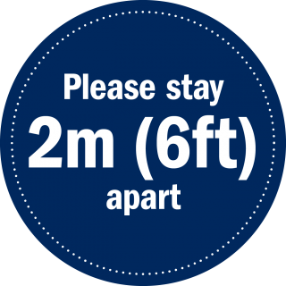 Round Sign - Please stay 2m (6ft) apart