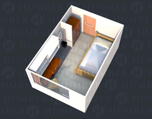 Single Dorm Room - 3D Render