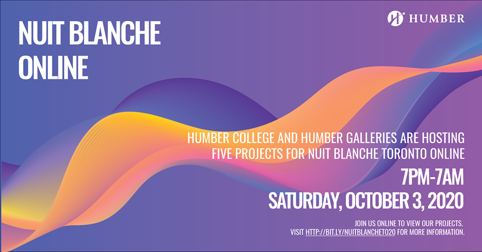 "Colourful abstract design with wording ""Nuit Blanche Online"""