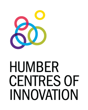 Interlocked colour rings with text Humber Centres of Innovation