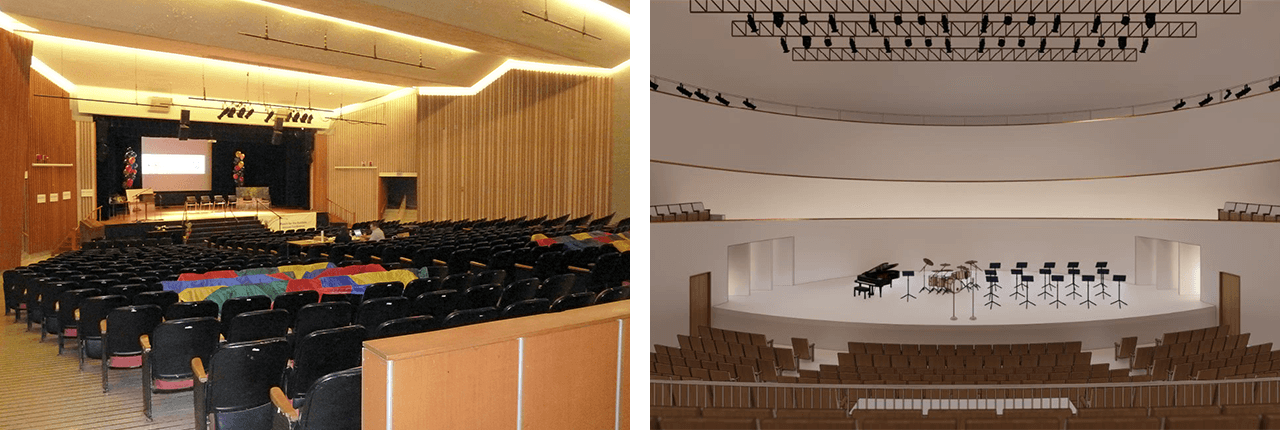 Current theatre left, new Multi-disciplinary Performance Hall at right.
