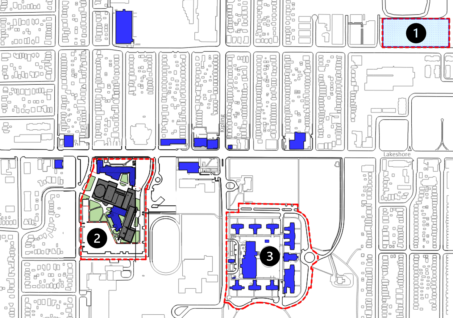 Map of the the Lakeshore campus showing locations relevent to the Cultural Hub