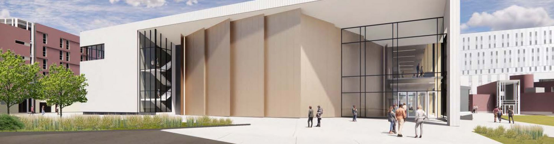 Rendering of the east elevation of the new building