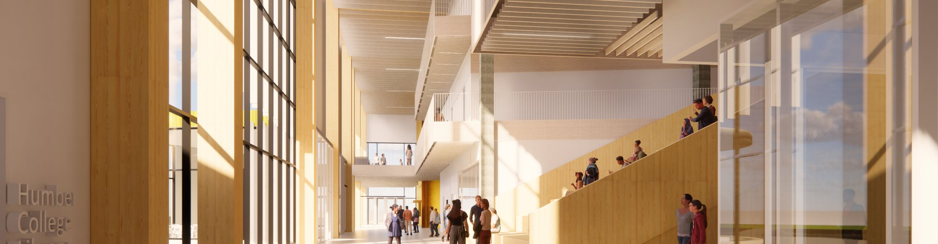 Rendering  of a large bright & wide hallway with tall windows