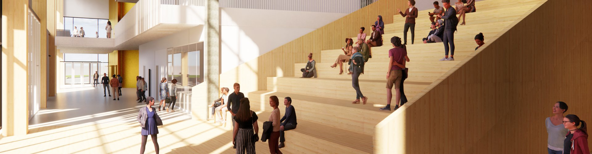 Rendering of a wide set of stairs in a bright hallway