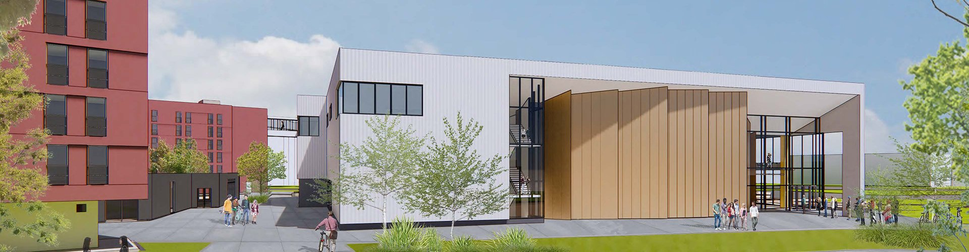 Rendering of the west elevation of the new building