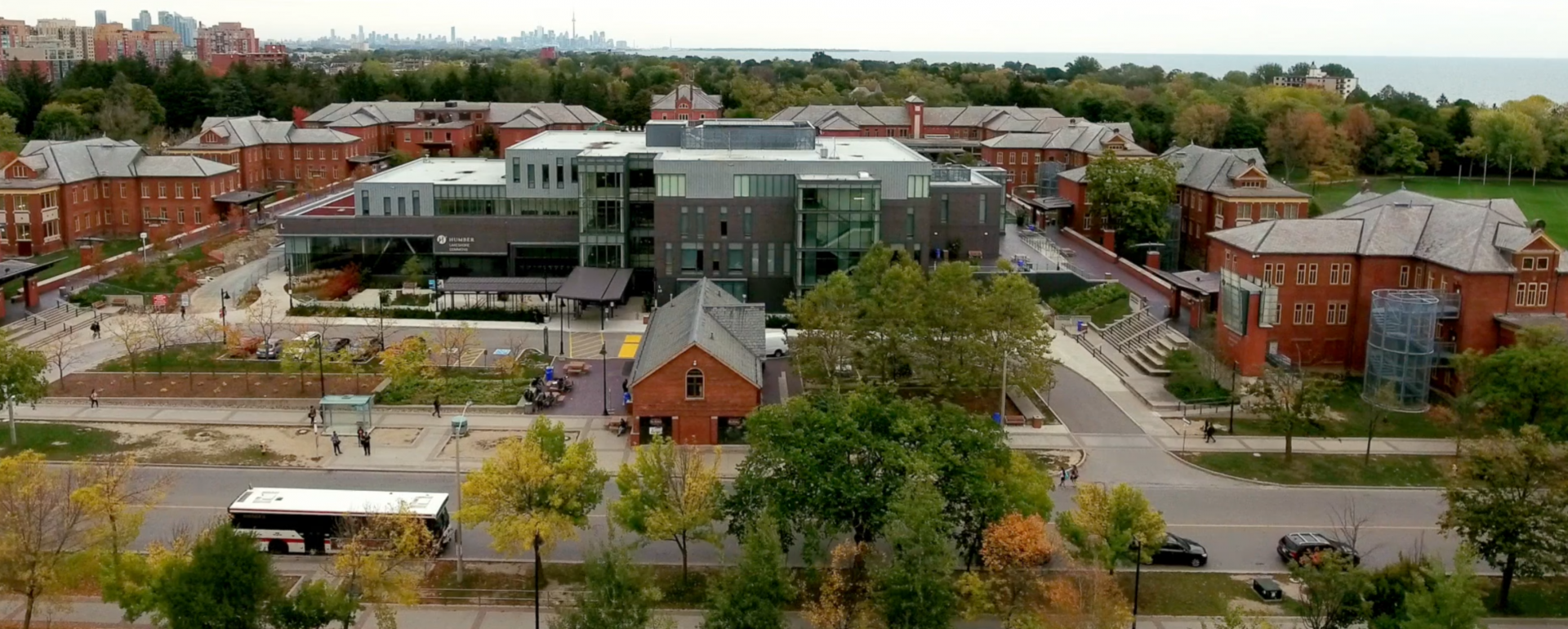 View of the Lakeshore Campus from above (a drone shot)