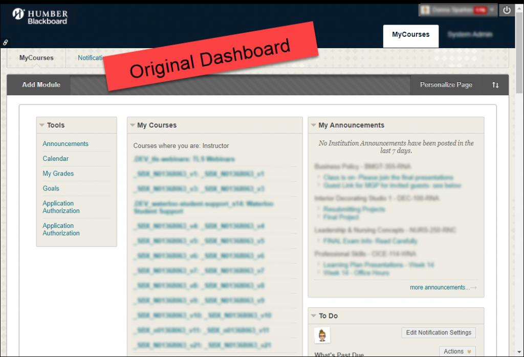 Original Blackboard Dashboard
