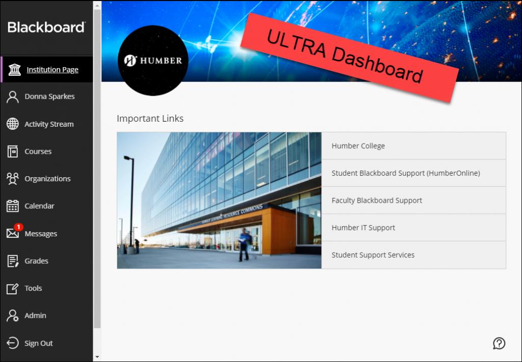 New Blackboard Ultra dashboard