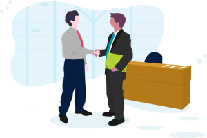 employee and manager shaking hands