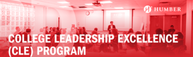 """Training session image with the following caption - """"College Leadership Excellence (CLE) Program"""" with a Humber logo"""