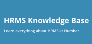 "Image with the following caption - ""HRMS Knowledge Base - Learn everything about the HRMS at Humber"""