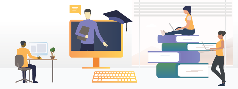 Image showing individuals taking online courses