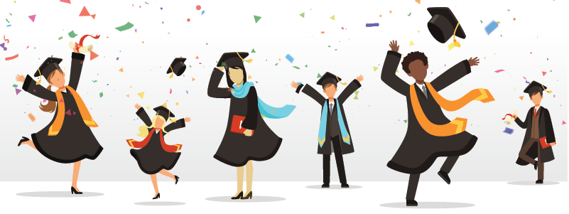 Image of multiple individuals celebrating their graduation