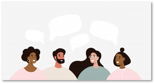 Image of individuals having a group conversation