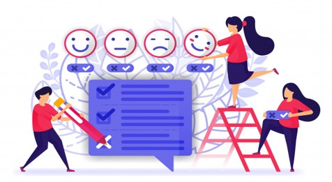 Image showing individuals sharing their feedback