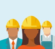 Image of employees wearing a safety hat