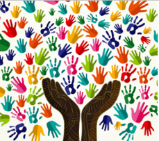 Image of colorful hands uniting
