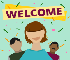 Image of smiling employees underneath a welcome banner