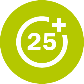 25+ text icon (mature students are typically 25 years or older)