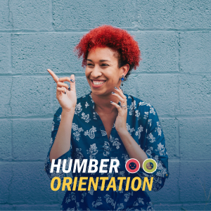 Humber Orientation text with 2 smiley emotes