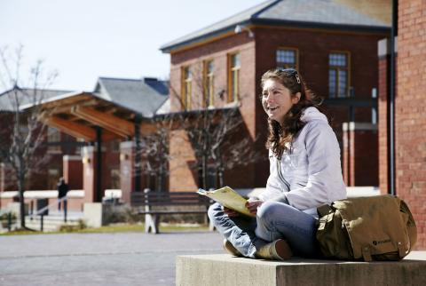 Student outside at Lakeshore Campus