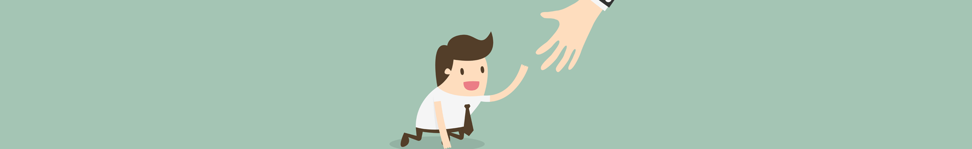Cartoon of a person receiving a helping hand