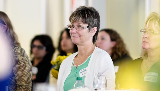 A Guidance Counsellor attends a luncheon at the Humber College Lakeshore campus.