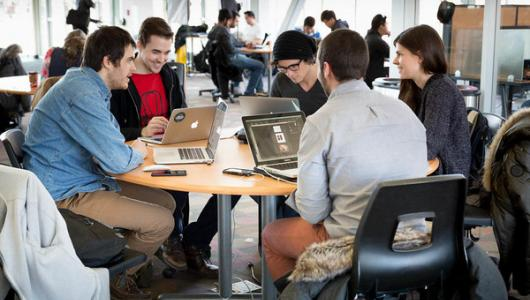 Students meeting at a table