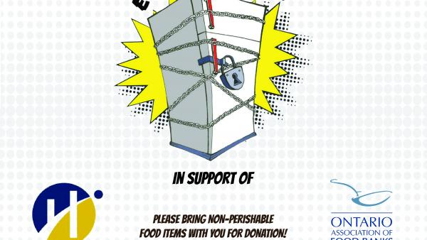 Poster for event showing a fridge wrapped in chains