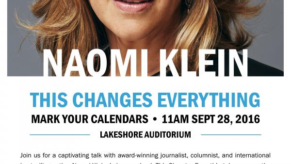 Poster of event showing face of Naomi Klein