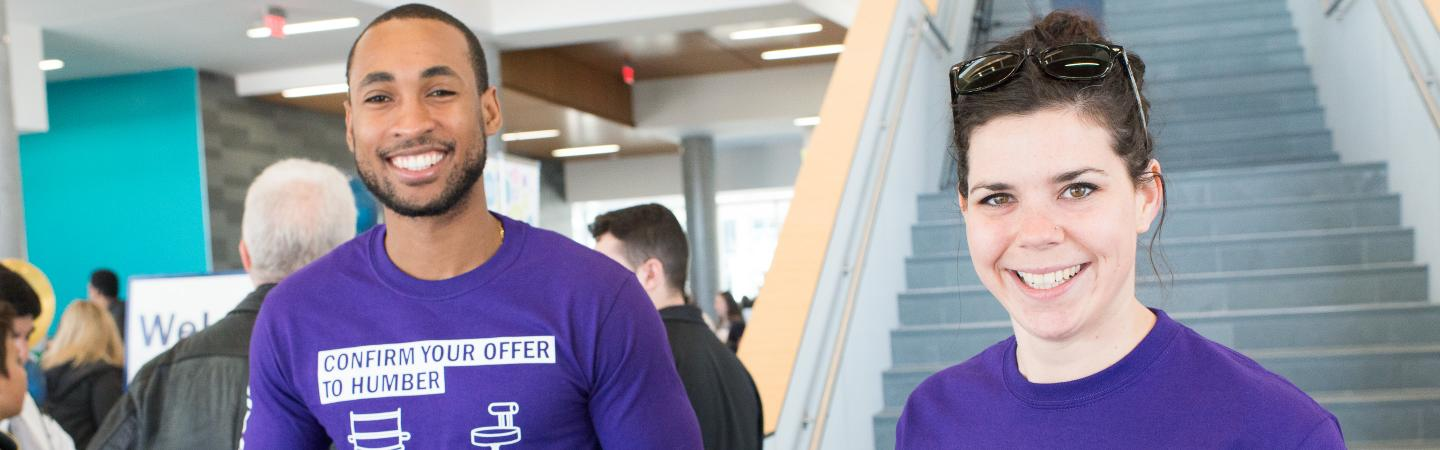 Humber student and staff greet guests during Humber's Spring Open House!