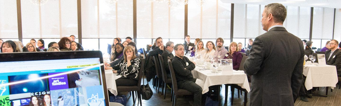 Guillermo Acosta, Dean of the School of Media Studies and Information Technology speaks to high school teachers and guidance counsellors at Humber's 2016 Spring Guidance Luncheon.