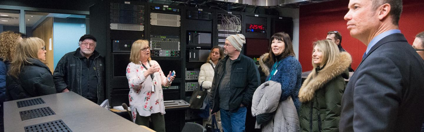 Guillermo Acosta, Dean of the School of Media Studies and Information Technology, takes high school teachers and guidance counsellors on a behind the scenes tour of the School of Media Studies and Information Technology.