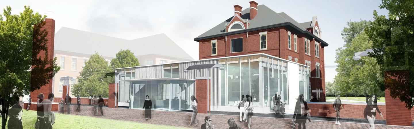 Rendering of the Centre for Entrepreneurship. The Centre for Entrepreneurship is planned to open in July 2016 and will provide space for a range of activities related to early entrepreneurial startups including informal and formal group meetings, private meetings with clients and mentors, and consultation with faculty and staff.