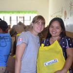 Humber graduate Melanie Silver poses with recipient of hygiene kit