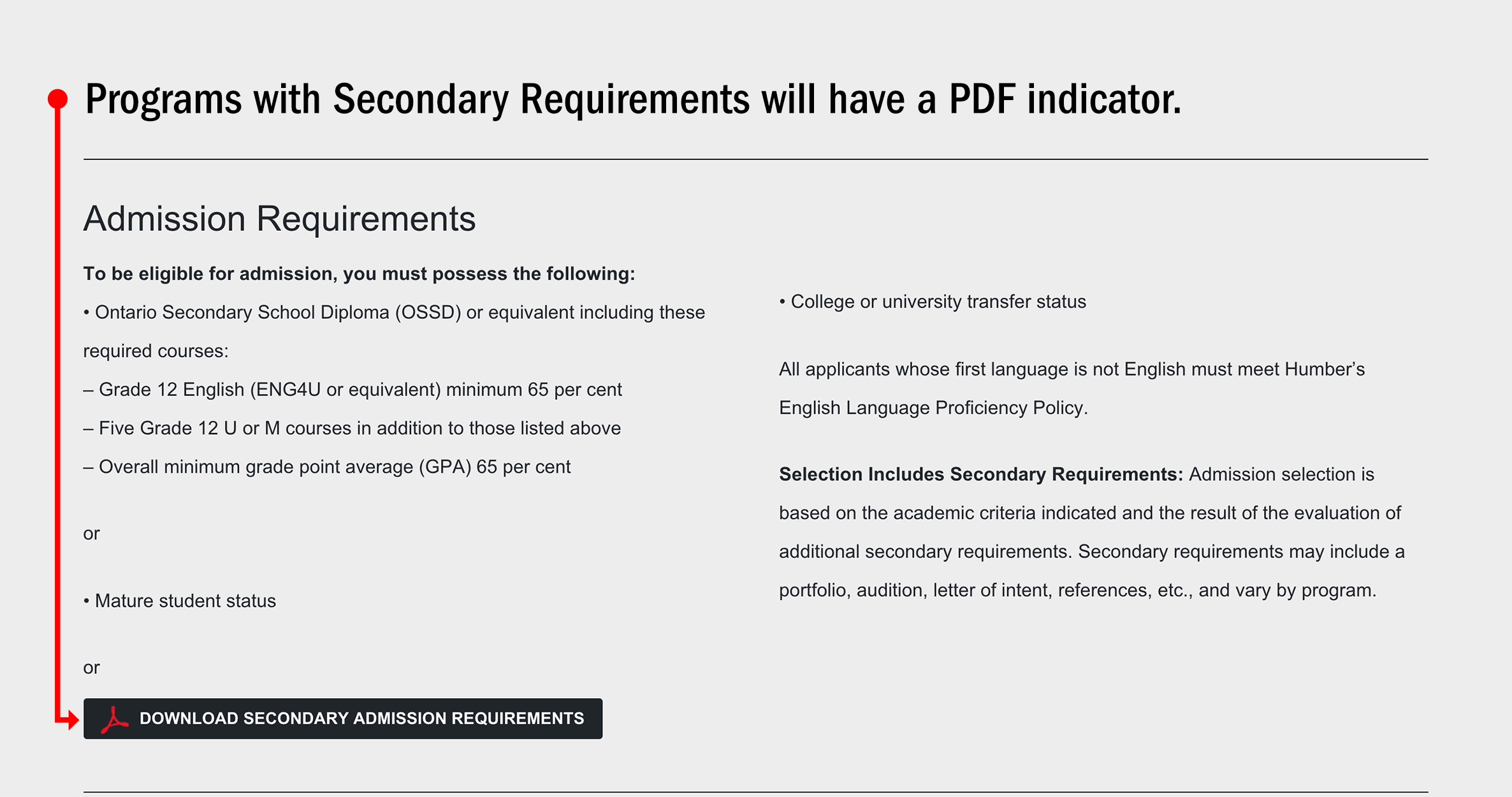 Secondary Requirements details are specified in the Admission Requirements section of the Program pages. Programs with Secondary Requirements will have a PDF indicator.