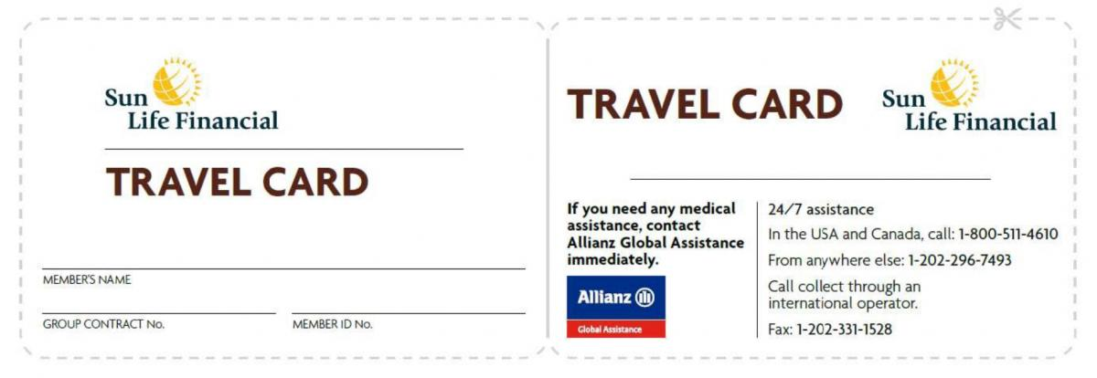 log in to mysunlifeca and download a travel card personalized with your information that will contain all of the details for allianz global assistance - Global Travel Card
