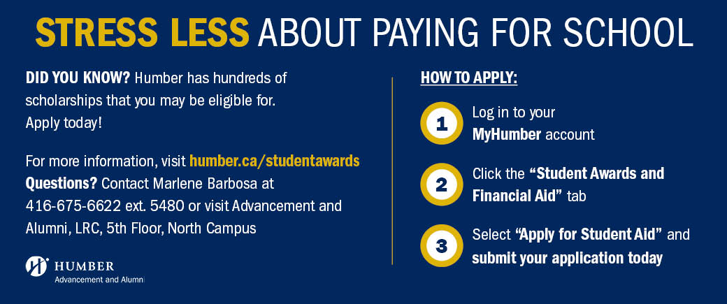 A photo promoting scholarships for Humber students, with instructions on how to apply