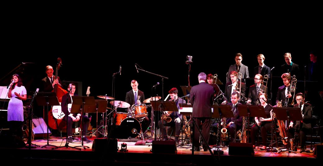 Humber Studio Jazz Orchestra in performance in the auditorium