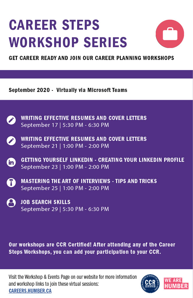 Career Steps Workshop Series poster for September 2020