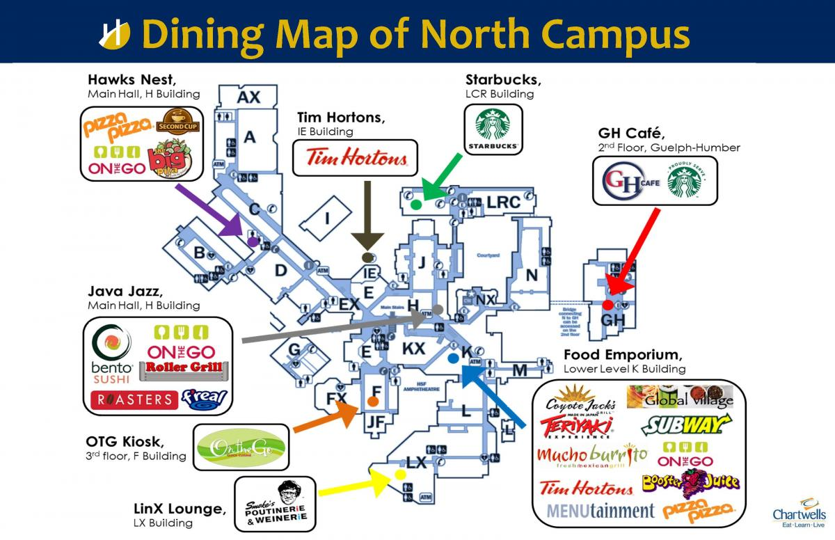 Humber College North Campus Map Dining Map of North Campus | Humber Communiqué