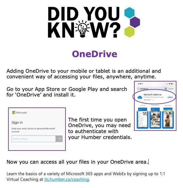 Did You Know - OneDrive Mobile App