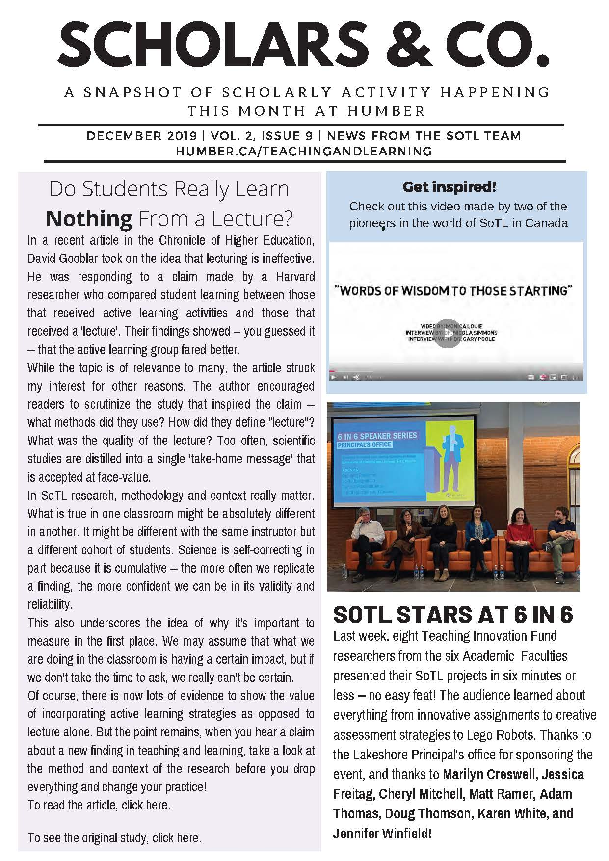 Front page of the SoTL Newsletter