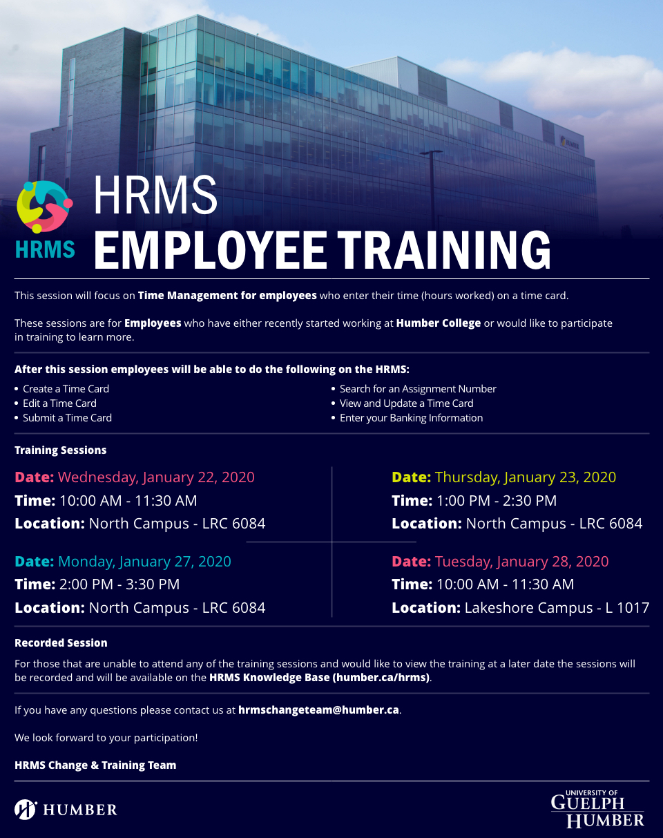 HRMS Employee Training Poster with Details of the Event