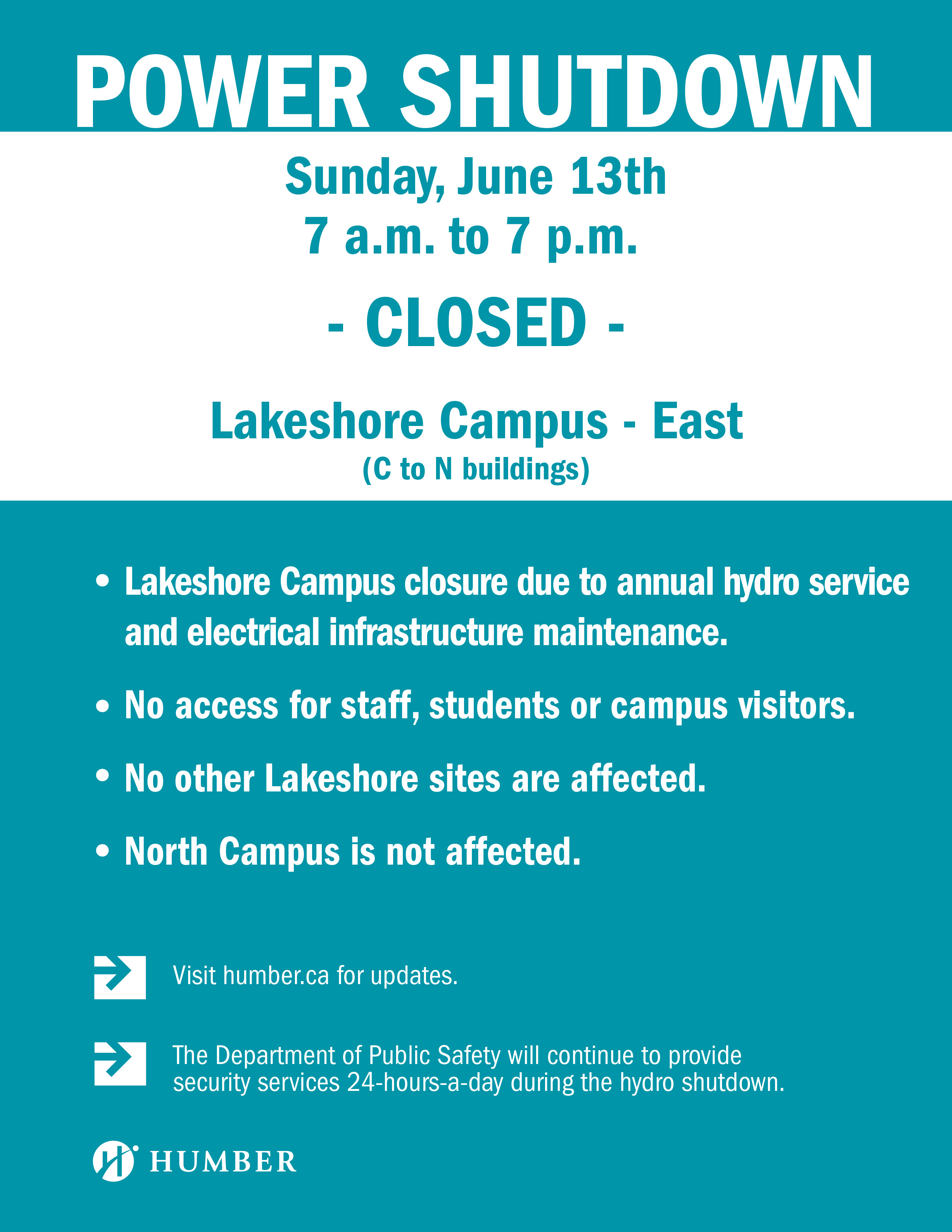 Notice of Planned Hydro Service Interruption – Lakeshore Campus: Lakeshore Campus East to be closed on June 13.