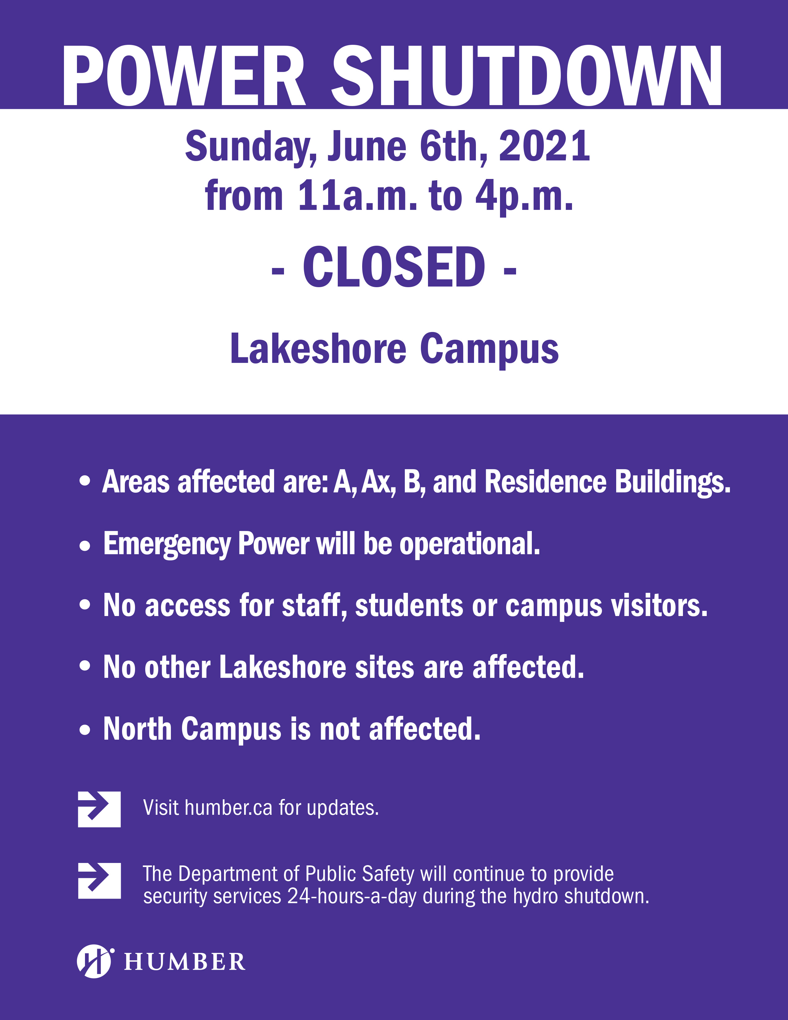 Notice of Planned Hydro Service Interruption - Lakeshore Campus: Lakeshore Campus to be closed on June 6.