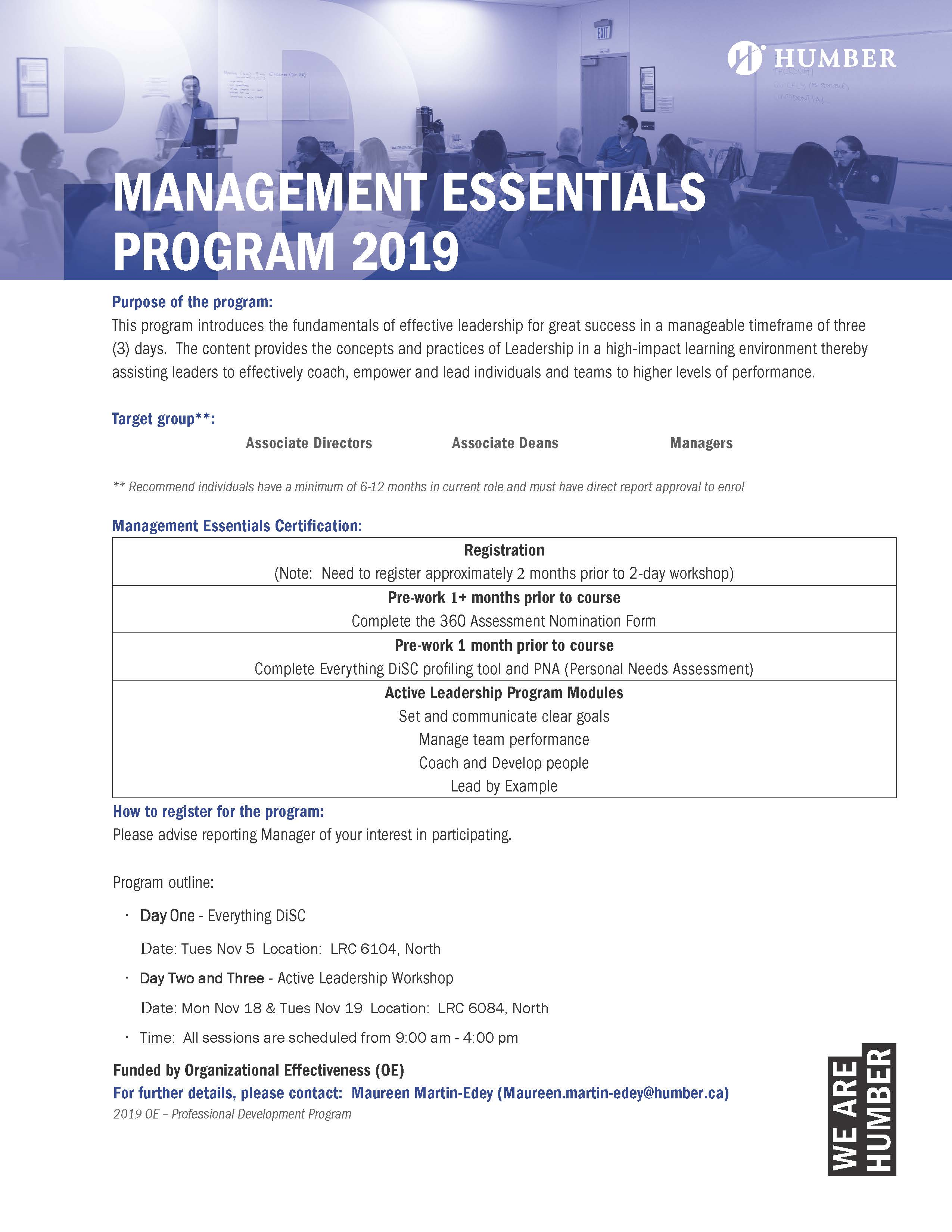 Management Essentials (Active Leadership) Program