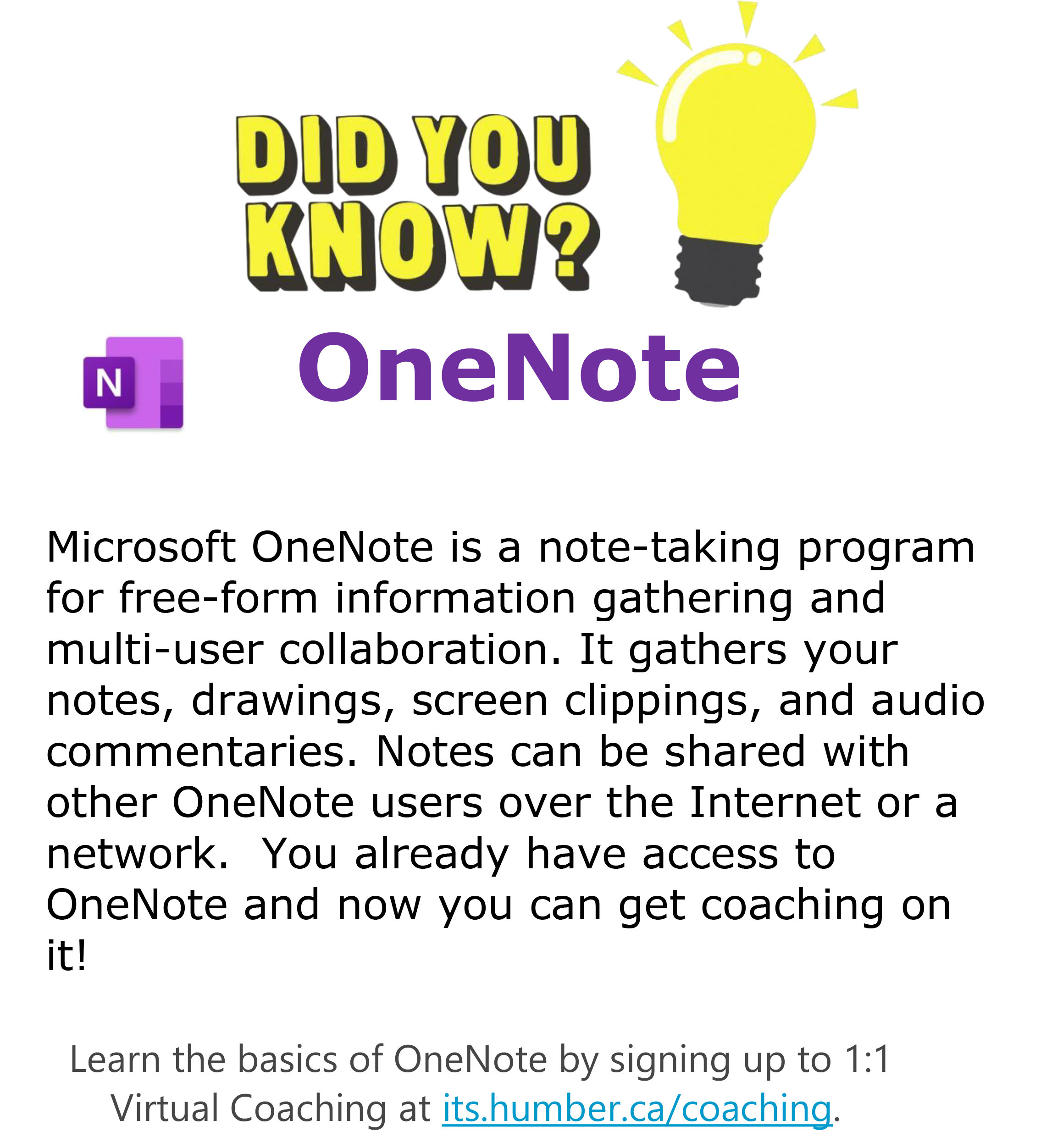 Did You Know - OneNote Coaching Available